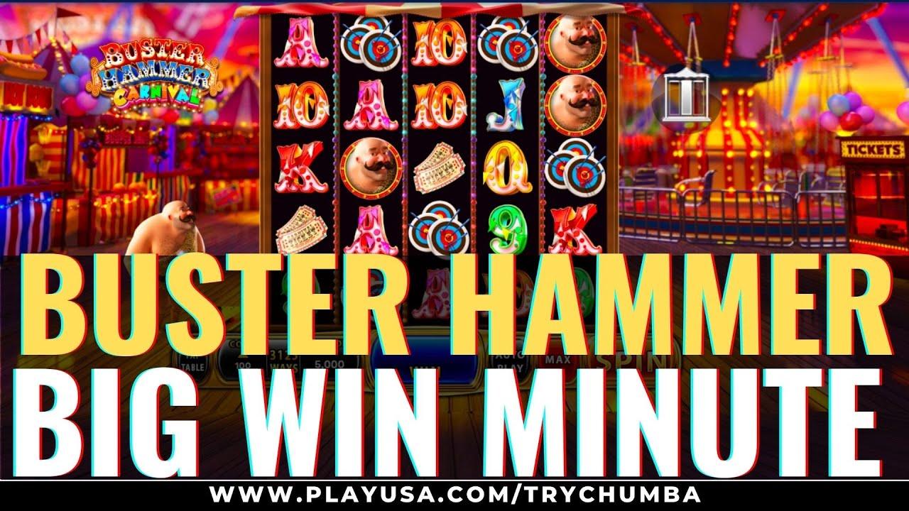 """70X """"Buster Hammer Carnival Big Win"""" 🎰 """"Chumba"""" visame pasaulyje kazino internete 💣 internetiniai lizdai # šortai"""